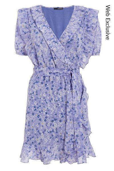 Lilac Chiffon Floral Wrap Skater Dress
